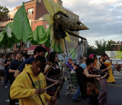 May Day marchers with dragon